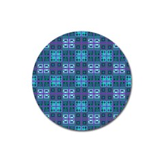 Mod Purple Green Turquoise Square Pattern Magnet 3  (round) by BrightVibesDesign