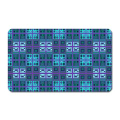 Mod Purple Green Turquoise Square Pattern Magnet (rectangular)