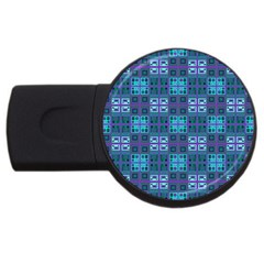 Mod Purple Green Turquoise Square Pattern Usb Flash Drive Round (2 Gb)