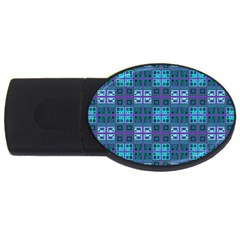 Mod Purple Green Turquoise Square Pattern Usb Flash Drive Oval (2 Gb)