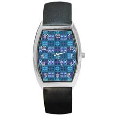 Mod Purple Green Turquoise Square Pattern Barrel Style Metal Watch