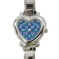 Mod Purple Green Turquoise Square Pattern Heart Italian Charm Watch