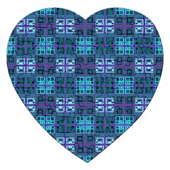Mod Purple Green Turquoise Square Pattern Jigsaw Puzzle (heart)