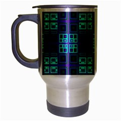 Mod Purple Green Turquoise Square Pattern Travel Mug (silver Gray)