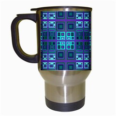 Mod Purple Green Turquoise Square Pattern Travel Mugs (white)