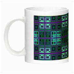 Mod Purple Green Turquoise Square Pattern Night Luminous Mugs