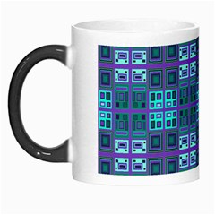 Mod Purple Green Turquoise Square Pattern Morph Mugs