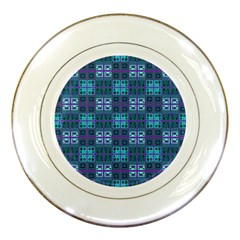 Mod Purple Green Turquoise Square Pattern Porcelain Plates