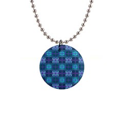 Mod Purple Green Turquoise Square Pattern Button Necklaces