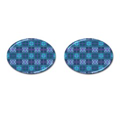 Mod Purple Green Turquoise Square Pattern Cufflinks (oval)