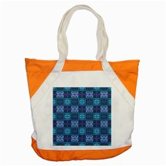 Mod Purple Green Turquoise Square Pattern Accent Tote Bag