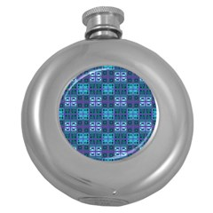 Mod Purple Green Turquoise Square Pattern Round Hip Flask (5 Oz)