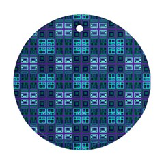 Mod Purple Green Turquoise Square Pattern Round Ornament (two Sides)