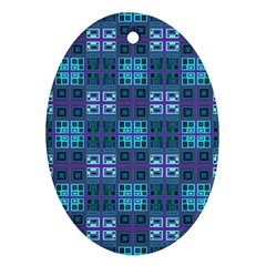 Mod Purple Green Turquoise Square Pattern Oval Ornament (two Sides)