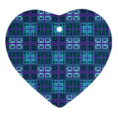 Mod Purple Green Turquoise Square Pattern Heart Ornament (two Sides) by BrightVibesDesign