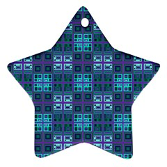 Mod Purple Green Turquoise Square Pattern Star Ornament (two Sides)