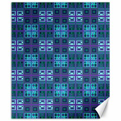 Mod Purple Green Turquoise Square Pattern Canvas 8  X 10