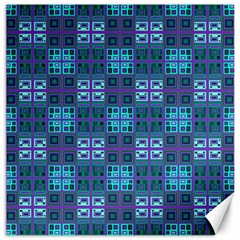 Mod Purple Green Turquoise Square Pattern Canvas 16  X 16