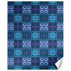 Mod Purple Green Turquoise Square Pattern Canvas 16  X 20