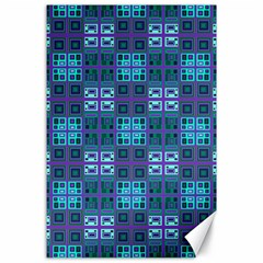 Mod Purple Green Turquoise Square Pattern Canvas 24  X 36
