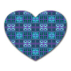 Mod Purple Green Turquoise Square Pattern Heart Mousepads