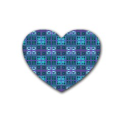 Mod Purple Green Turquoise Square Pattern Heart Coaster (4 Pack)