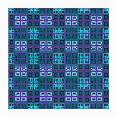 Mod Purple Green Turquoise Square Pattern Medium Glasses Cloth