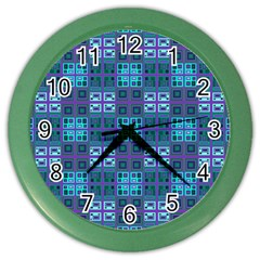 Mod Purple Green Turquoise Square Pattern Color Wall Clock