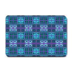 Mod Purple Green Turquoise Square Pattern Small Doormat