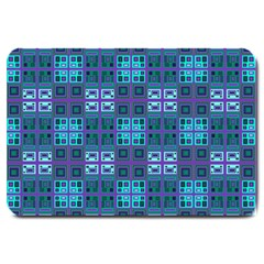 Mod Purple Green Turquoise Square Pattern Large Doormat