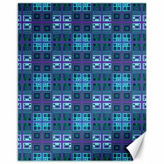 Mod Purple Green Turquoise Square Pattern Canvas 11  X 14