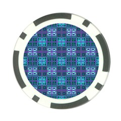 Mod Purple Green Turquoise Square Pattern Poker Chip Card Guard