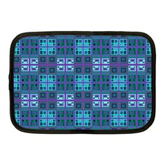 Mod Purple Green Turquoise Square Pattern Netbook Case (medium)