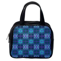 Mod Purple Green Turquoise Square Pattern Classic Handbag (one Side)