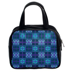 Mod Purple Green Turquoise Square Pattern Classic Handbag (two Sides)