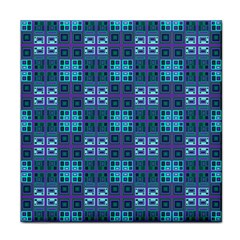 Mod Purple Green Turquoise Square Pattern Face Towel by BrightVibesDesign