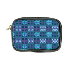 Mod Purple Green Turquoise Square Pattern Coin Purse