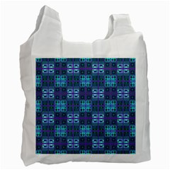 Mod Purple Green Turquoise Square Pattern Recycle Bag (two Side)