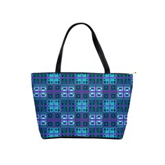 Mod Purple Green Turquoise Square Pattern Classic Shoulder Handbag
