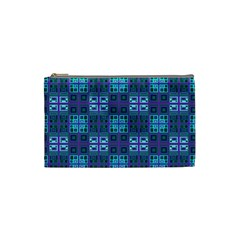 Mod Purple Green Turquoise Square Pattern Cosmetic Bag (small)