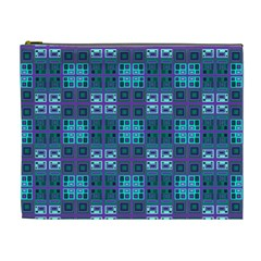 Mod Purple Green Turquoise Square Pattern Cosmetic Bag (xl)