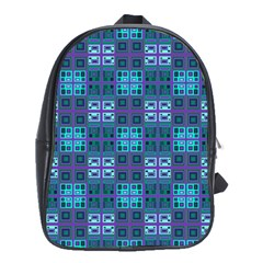 Mod Purple Green Turquoise Square Pattern School Bag (large)