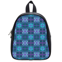 Mod Purple Green Turquoise Square Pattern School Bag (small)