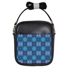 Mod Purple Green Turquoise Square Pattern Girls Sling Bag