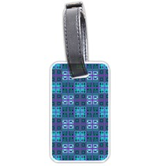 Mod Purple Green Turquoise Square Pattern Luggage Tags (two Sides)
