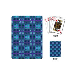 Mod Purple Green Turquoise Square Pattern Playing Cards (mini)