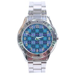 Mod Purple Green Turquoise Square Pattern Stainless Steel Analogue Watch