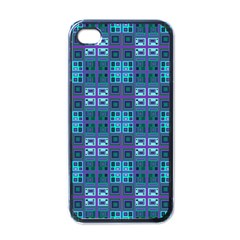 Mod Purple Green Turquoise Square Pattern Apple Iphone 4 Case (black)