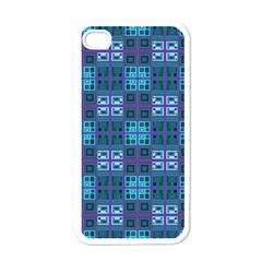 Mod Purple Green Turquoise Square Pattern Apple Iphone 4 Case (white)