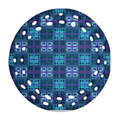 Mod Purple Green Turquoise Square Pattern Ornament (round Filigree)